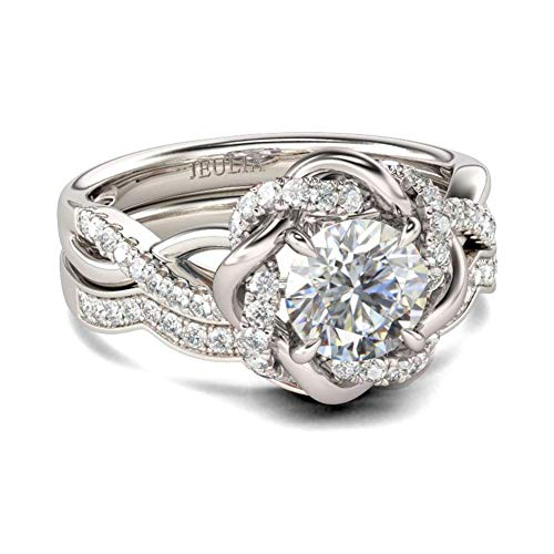 Jeulia Halo Solitaire Verlobungsringe für Frauen Sterling Silber Blumen Blumenringe Rosévergoldeter Diamant Ring Rundschliff Brautring Set Jubiläumsversprechen für Sie (Silber, 58 (18.5))