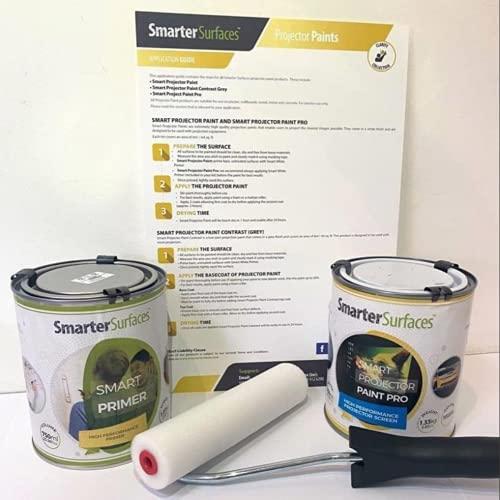 Pintura Proyector Pro - 6m² Color Blanco + 6m² Imprimación Blanco - Pintura para Proyectar en Oficinas, Clases y Conferencias - Para proyectores 4K, HD y normales