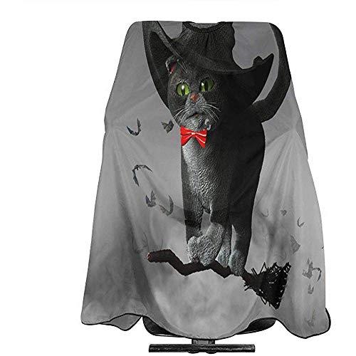 Kapsel Schort Illustratie Van Kat Het dragen van een Heksen Hoed Op Halloween Vliegen Op Een Bezem Professionele Haar Cut Cape Kapper Wai Doek Kappers Wrap Voor Volwassene/W