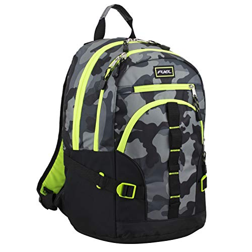 Fuel Dynamo Multipocket Active Backpack with Front Webbing Molle Loops, Black/Gray Camo/Neon Yellow Trim