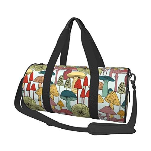 EDJKEJYCO Borsone da viaggio con funghi, leggero, pieghevole, impermeabile, con borsa da palestra per uomini e donne, Come mostrato, 17.7 x 9 x 9 inches,