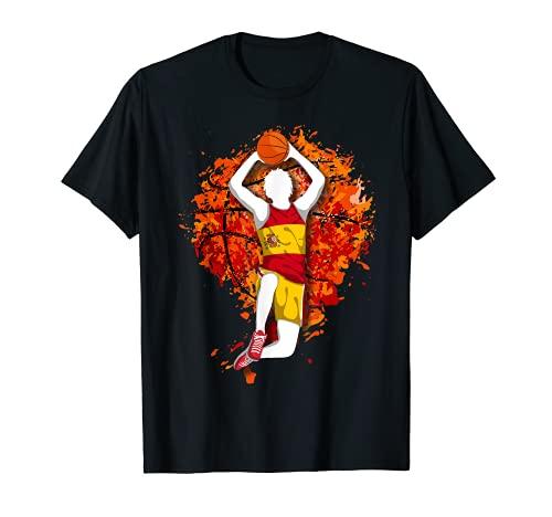 España Baloncesto Bandera Nacional Española Slam Dunk Art Camiseta