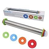 FUKTSYSM Teigroller - Edelstahl Teigroller Metall Teigroller Anti-Rost Nudelholz Perfekt