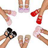3 Pairs Non Slip Skid Crossover Cotton Yoga Ballerina Socks with Grip Bottom for Kids Girls Toddlers Children(2-4 Years Old, Assorted colors)