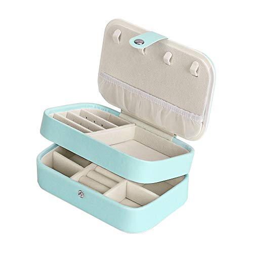 HomdMarket Bebe Azul joyero de Piel sintética, 2 Capas, Organizador con Espejo, para Collares, Pendientes, Joyas, Pulseras, Caja de Almacenamiento, tamaño pequeño