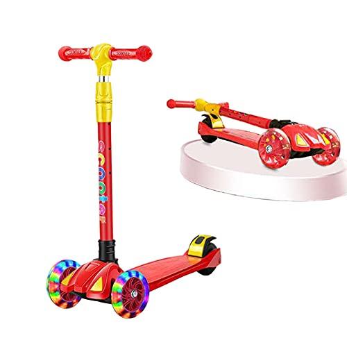 WANNFNG Scooter para niños con iluminación LED, para niños y niñas de 3 a 12 años de edad