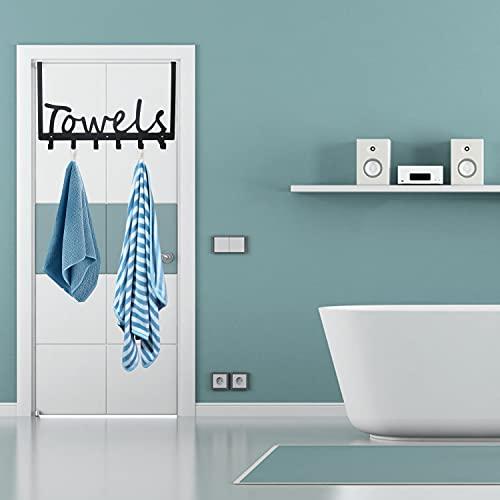 Over The Door Hook Towel Racks Bath Door Hanger with 6 Coat Hooks