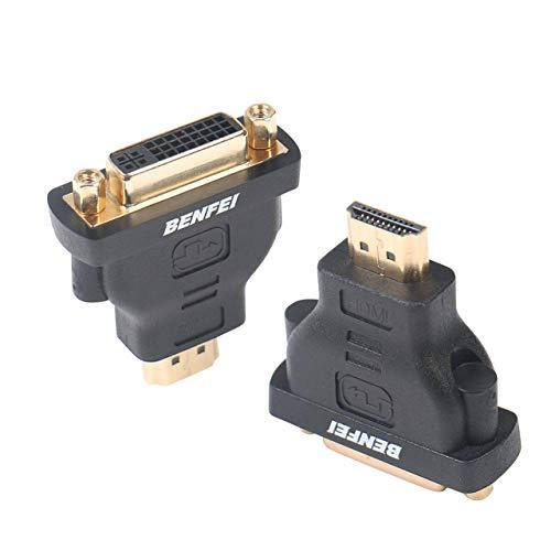 DVI auf HDMI Adapter, BENFEI Bidirektional HDMI-Stecker auf DVI-Buchse Adapter 2 Stück