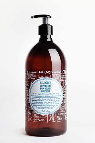 ricaricando 1 Liter Refill BIO Duschgel mit nativem Bio Olivenöl und natürlichem Fenchel- und Zitronenöl, zertifizierte Naturkosmetik, ohne Silikone, ohne Parabene, ohne EDTA, vegan