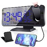 Ezanaki Wecker, Projektionswecker Digitaler Radiowecker mit Projektion 180°, USB Anschluss, 7' LED-Anzeige, Snooze Dual-Alarm, 4 Helligkeit Dimmbar und 32FM Radio für das Schlafzimmer, Küche, Bür