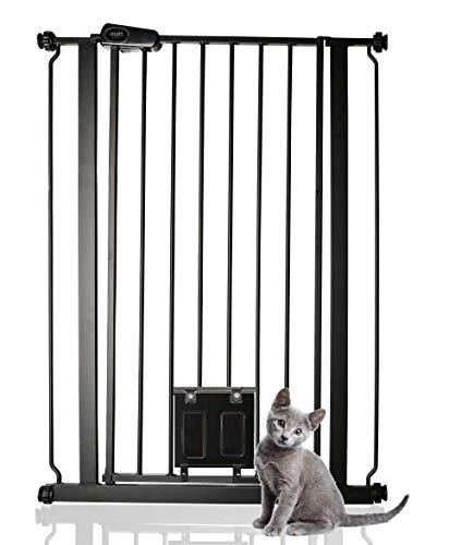 Bettacare Hundegitter Türschutzgitter mit Abschließbar Katzenklappe Matt Schwarz 75cm - 84cm
