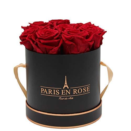 PARIS EN ROSE Rosenbox Pont des Arts Bijou | 3 Jahre haltbar | Schwarz-Roségold mit bordeauxroten Infinity Rosen | Flowerbox mit 8-9 konservierten Blumen