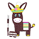 Donkey Pinata Bundle with a Blindfold and Bat ― Perfect Sized Pinata For Birthday Parties, Kids Carnival and Related Events ― Can Hold Up to 5 lbs of Candy ― Patent Pending (16 x 11 x 4 inches)