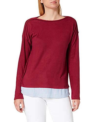 Springfield Camiseta Bimateria Lisa, Granate, XL para Mujer