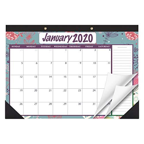 STOBOK Calendario da tavolo 2020-2021 Calendario da parete Calendario familiare Calendario mensile per appuntamenti e agende, gennaio 2020 - dicembre 2021, 43x30 cm, floreale vintage