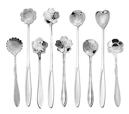 9 Pcs Flower Spoon Coffee Teaspoon Set ESRISE Stainless Steel Tea Spoon essert Spoon Cute Demitasse Scoop for Stirring Drink Mixing Milkshake Jam Silver