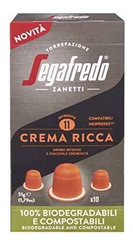 Segafredo Zanetti 80 Capsule Compostabili Compatibili Nespresso, Linea Le Classiche Crema Ricca, Aroma Intenso E Piacevole Cremosità - 8 Astucci Da 0 Capsule, Spezie