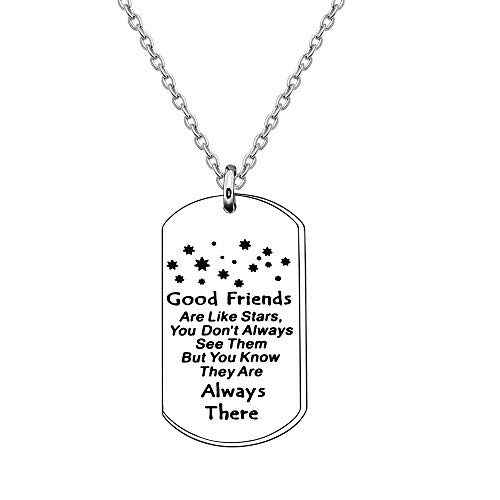 Collar con texto en inglés 'Good Friends Like are like stars,You Don't Always Seem Them,but You Know They are Always Are Always Here