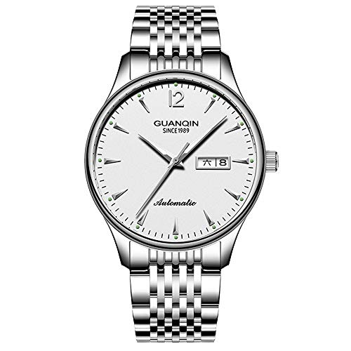 Guanqin - Reloj de pulsera de acero inoxidable automático automático con cuerda automática, con fecha luminosa, Plateado blanco