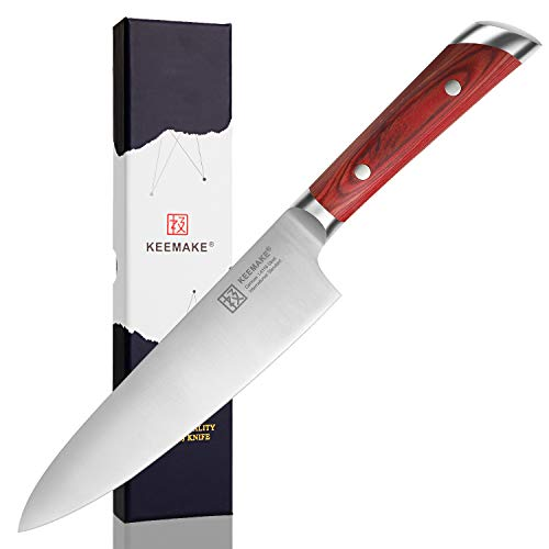 Japanese Chef knife 8 inch ,Professional sharp kitchen cooking knife with Forged High-carbon German stainless steel and pakka wood ergonomic handle - KEEMAKE