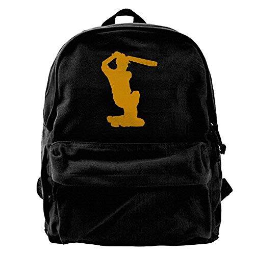 hengshiqi Rucksack Schultasche,Backpack, Cricket Batsman Hitting The Ball to The Boundary. Outdoor Backpack School Bags Travel Backpack Canvas Christmas Backpack Unisex Boys and Girls