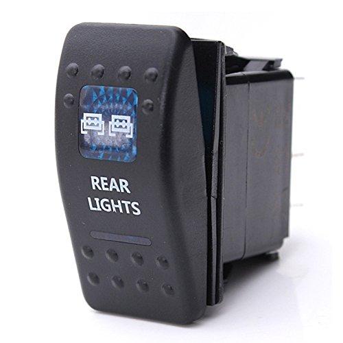 SODIAL Interruptor basculante luz Trasera LED Dual gualdera Arb carco de Coche SPST ON-Off 12/24V CE 10A 7