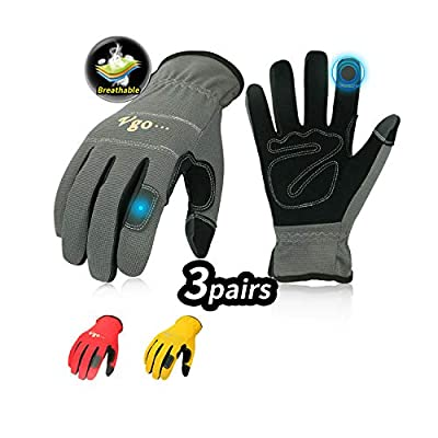 Vgo 3-Pairs Synthetic Leather Work Gloves, Multi-Purpose Light Duty Work Gloves, Breathable & High Dexterity, Touchscreen (Yellow, Red & Grey, NB7581)
