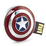 Portable USB 2.0 Flash Drive Shield of Captain America Plug and Play for PC/Mac/Laptop/Desktop / (64GB)