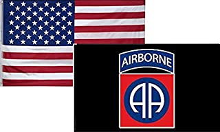 ALBATROS 3 ft x 5 ft USA American with 82nd Airborne Div. Black Flag (2 Pack) for Home and Parades, Official Party, All Weather Indoors Outdoors
