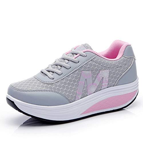 WYSTLDR Zapatillas de Deporte de Mujer Plataforma Cuña tonificante Zapatos Deportivos Ligeros para Mujer Zapatos de oscilación Transpirables para Adelgazar-5.5