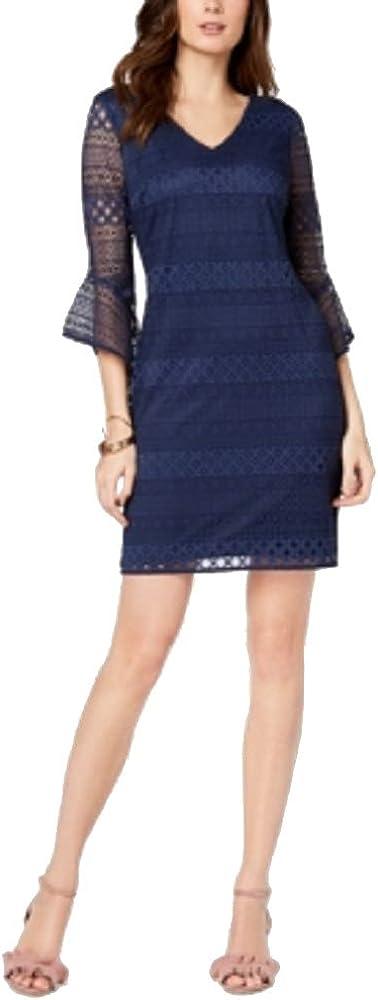 Alfani Women's Lace 3/4 Bell Sleeve V-Neck Mini Dress