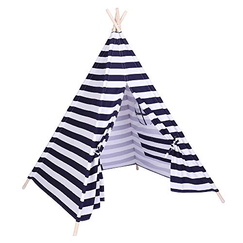 Tidyard Tent Children Teepee Tent Baby Indoor Dollhouse with Small Coloured Flags roller shade and pocket Blue and White Stripes