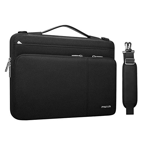 MOSISO 360 Protective Laptop Shoulder Bag Compatible with MacBook Pro/Air 13, 13-13.3 inch Notebook Computer, Polyester Side Open Briefcase Sleeve with 3 Front Pockets&PU Handle&Trolley Belt, Black