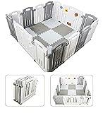 Parque de Bebe XL Plegable + Alfombra Puzzle / Incluye alfombra puzzle 16 piezas / Multiples Formas de Montaje / Plegado Compacto . Color Blanco&Gris