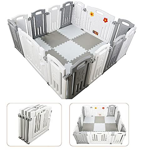Parque de Bebe XL Plegable + Alfombra Puzzle / Incluye alfombra puzzle 16 piezas /...