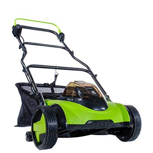 Earthwise 2120-16 20-Volt 16-Inch Electric Cordless Reel Lawn Mower, 2.0Ah Battery & Fast Charger Included