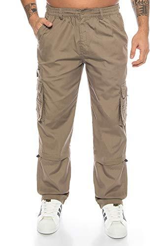 Kendindza Relaxed Zipp-Off Cargo-Hose | Ranger-Hose | Vintage Freizeit-Hose | Outdoor-Hose | Zipp-Hose Loose-Fit (Dunkel-Beige, XXXL)