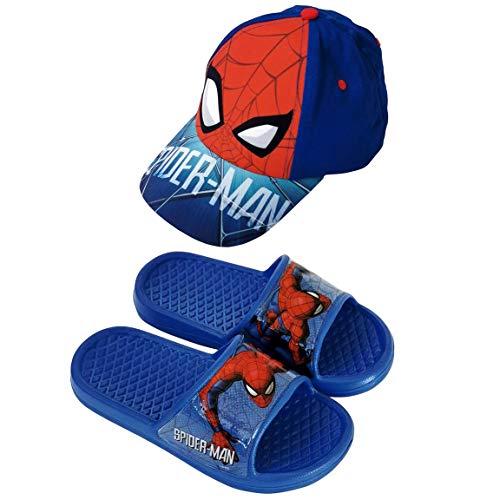 Chanclas Spiderman Flip-Flop para Playa o Piscina + Gorra Spiderman Marvel para Niños (Azul, Numeric_30)