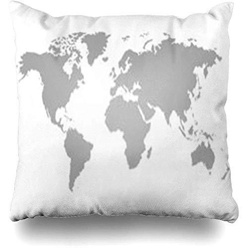 GFGKKGJFF0902 Kissenbezüge, Motiv Weltkarte auf Amerika, Weiß, Schwarz, unbeschriftet, abstraktes Afrika, Süd, 45,7 x 45,7 cm, Weihnachts-Kissenbezug, für Sofa, Geschenke für Mädchen
