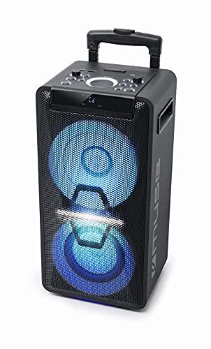 Muse Système DJ PA avec Batterie, 300 W, CD, Bluetooth et Effets Lumineux (USB, AUX, Microphone,...