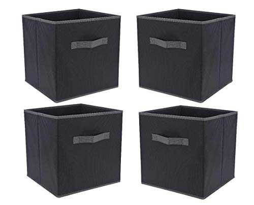 Set van 4 opbergdozen, antraciet, 30 x 30 cm, voor het opbergen van dobbelstenen, vouwdoos, stoffen doos, vouwdoos, opbergbox