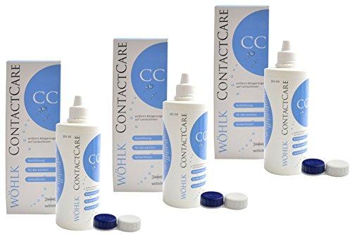Wöhlk Contact Care All-In-One Lösung 3x 360 ml mit Kontaktlinsenbehälter