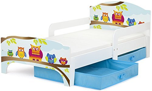 Leomark Smart Cama Infantil de Madera - Búhos - Marco de Cama, Colchón y Cajón, robustro Cómodo Dormitorio Impresa, Muebles Para Niños, Espacio para dormir: 140/70 cm