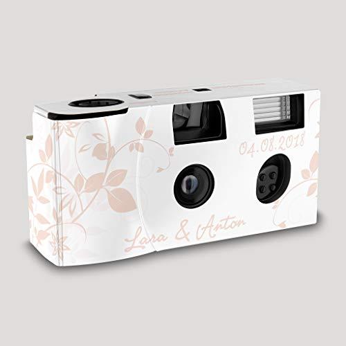 Hochzeitskamera Einwegkamera Flower rosa mit Personalisierung, ISO 400, 27 Aufnahmen, Blitz