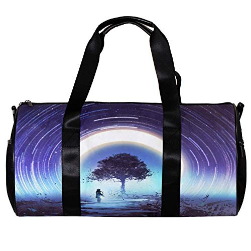 TIZORAX Borsone da donna e uomo Magic Tree and Star Trails Sport Gym Tote Bag Weekend Overnight Travel Bag Outdoor Bagage