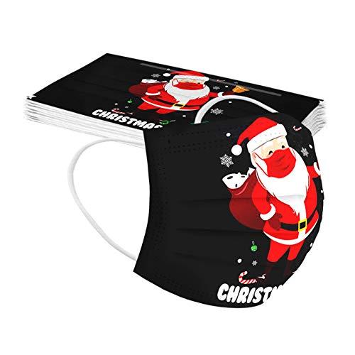 SicongHT 10/20 Stück Weihnachten staubdichtes Tuch für Erwachsene_ Anti-Dunst_Mund und Nasenschutz 3-lagig Weihnachts Druck Multifunktionstuch Halstuch Schals(10Stück,J)