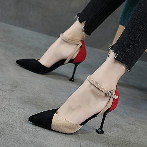 HRCxue Pumps Schuhe Weißliche Schnalle High Heels Weißliche Baotou Baotou Baotou Stiletto 8cm Wilde Farbe passende Spitze Schuhe  schneller Versand zu Ihnen