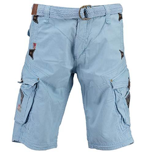 Geographical Norway Herren Shorts Pratique Perle Kurze Hose Männer mit Gürtel Bestickt Cargoshorts Sky Blue XXXL