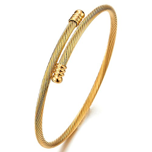 COOLSTEELANDBEYOND Fina Brazalete Unisexo, Pulsera de Hombre Mujer, Acero Inoxidable, Cable de Acero Color Oro