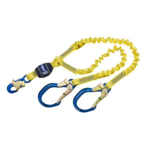 3M DBI-SALA EZ-Stop 1246193 6' 100 Percent Shock Absorbing Lanyard, Elastic Web, Aluminum Snap Hook At Center, Aluminum Rebar Hooks On Leg Ends, Navy/Yellow
